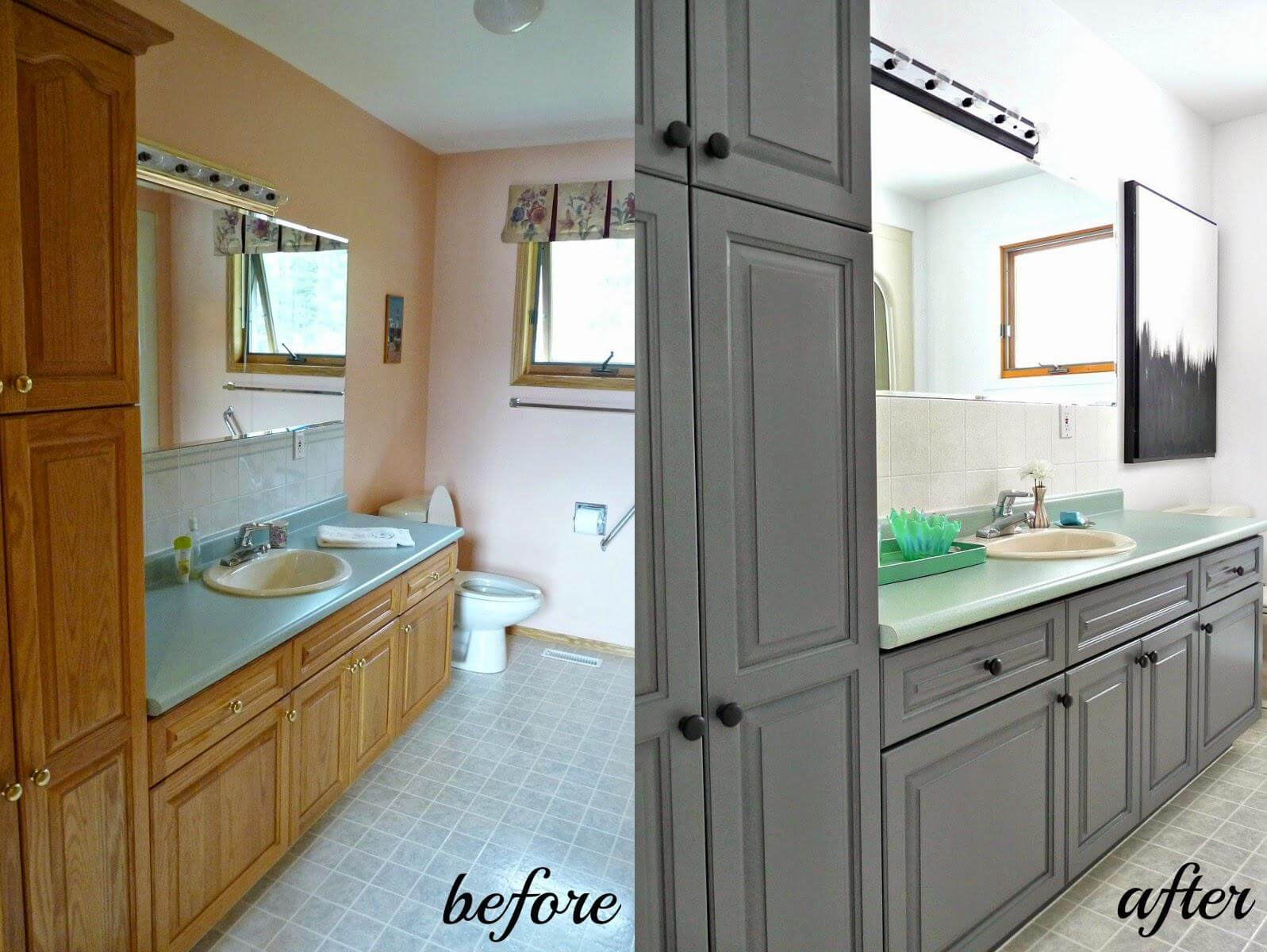 Painting Bathroom Vanities Before And After