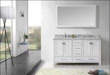 90-inch ceramic top double bathroom vanity